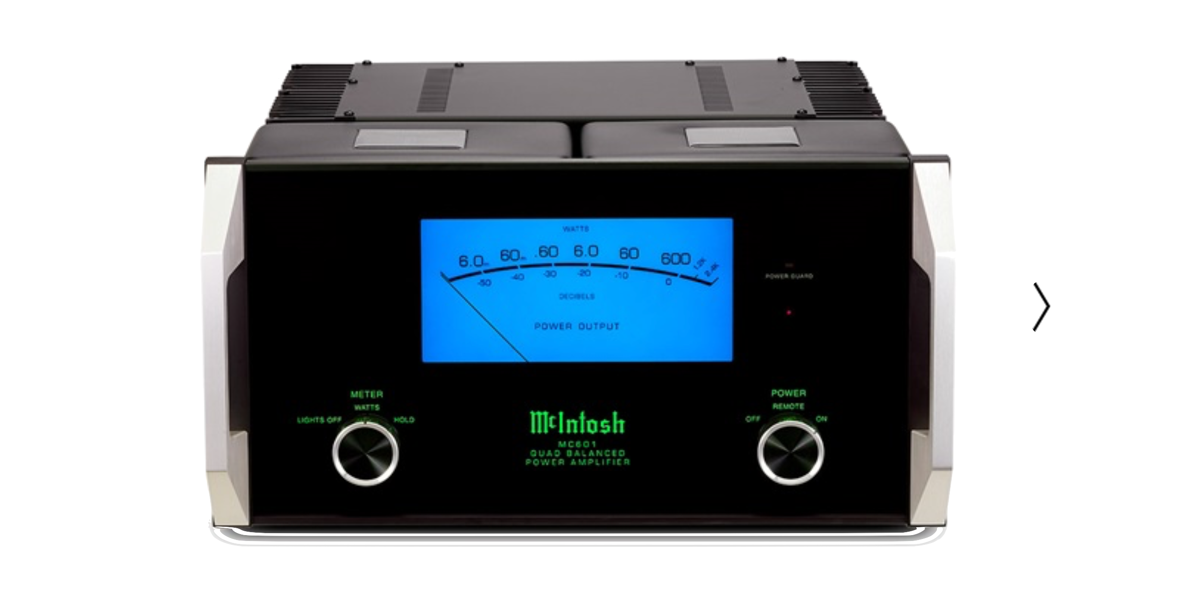 The MC601 monoblock amplifier features the classic McIntosh design yet is timelessly handsome. It produces an extraordinary 600 watts of power – more than enough to drive virtually any loudspeaker