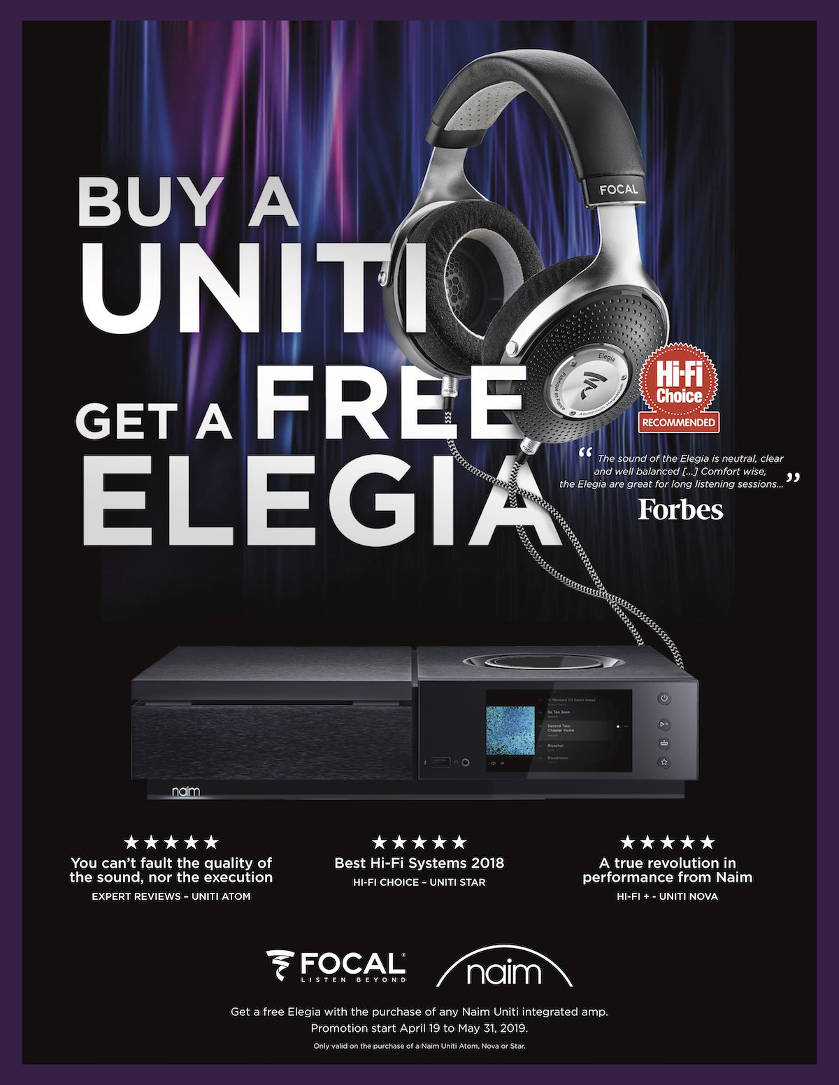 Naim Unit Focal Elegia promotion May 2019
